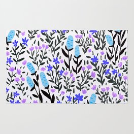 wild flowers hand draw floral pattern Rug