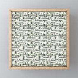 100 Dollar Motif Pattern Design Framed Mini Art Print