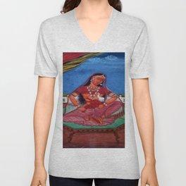 Deity Parvati With Her Son Ganesha Unisex V-Neck
