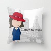 agent carter Throw Pillows featuring Agent Carter by Jen Talley
