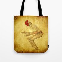 cock Tote Bags featuring Cricket cock by Ganech joe