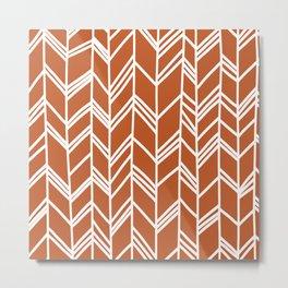 Tribal Arrow Pattern - terracotta Background Metal Print
