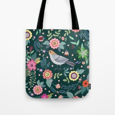 Pattern with beautiful bird in flowers Tote Bag