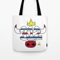 chicago bulls Tote Bags featuring Chicago Pride Bulls by TyRex Creations