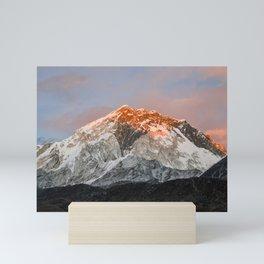 Sunset hits the Himalayan mountains Mini Art Print