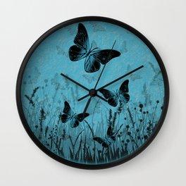 Blue Butterfly Meadow Wall Clock