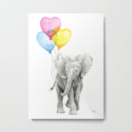 Elephant Watercolor with Balloons Rainbow Hearts Baby Animal Nursery Prints Metal Print