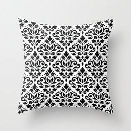Scroll Damask Pattern Black on White Throw Pillow