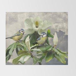 Blue Tits in Magnolia Tree Throw Blanket