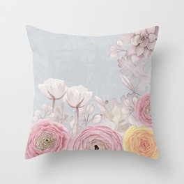 Floral Spring Greatings - Pastel Flowers Throw Pillow