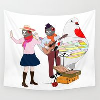 band Wall Tapestries featuring bird band by Antonellaheng