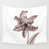 henna Wall Tapestries featuring Henna Lily by Elisa Camera
