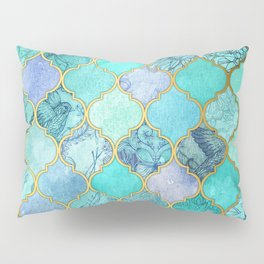 Cool Jade & Icy Mint Decorative Moroccan Tile Pattern Pillow Sham