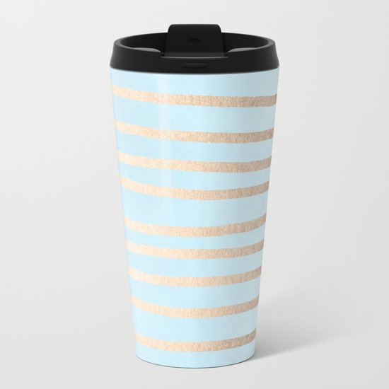 Abstract Drawn Stripes Gold Tropical Ocean Sea Turquoise Metal Travel Mug
