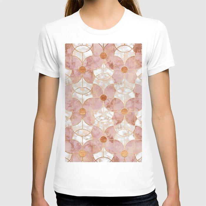 Rose Gold Art Deco Butterfly Pattern T-shirt