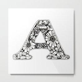 A Doodled Initial Metal Print