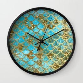 Aqua Teal & Gold Glitter MermaidScales - Mermaid Scales And Sea Foam Wall Clock