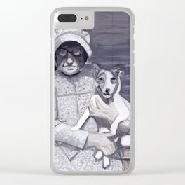 An Old Lady and Her Little Dog in Gouache Clear iPhone Case