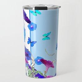BLUE BUTTERFLIES & PURPLE MORNING GLORIES Travel Mug