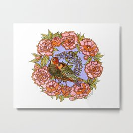 Lovebirds With Peony Wreath Metal Print