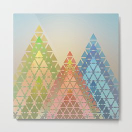 Geometric Christmas Trees 3 Metal Print