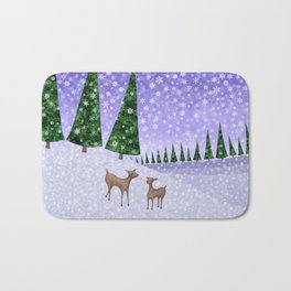deer in the winter woods Bath Mat