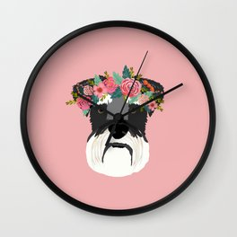 Schnauzer floral crown dog breed pet art schnauzers cute pure breed gifts Wall Clock