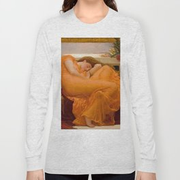 Flaming June Oil Painting by Frederic Lord Leighton Long Sleeve T-shirt