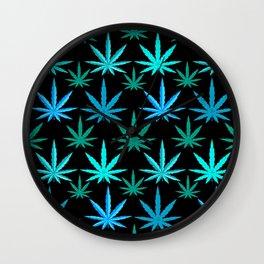 Marijuana Teal Turquoise Weed Wall Clock