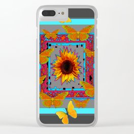 TURQUOISE SOUTHWEST ART YELLOW  BUTTERFLIES FLOWERS Clear iPhone Case