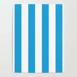 Oktoberfest Bavarian Blue and White Large Cabana Stripes Poster