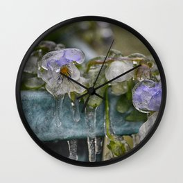 Pansies on Ice Wall Clock