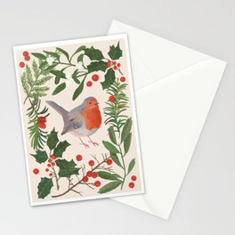 Robin in a Winter Garden Stationery Cards