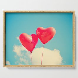 Heart Balloons and the Cloudy Sky Serving Tray