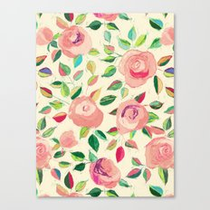 Pastel Roses in Blush Pink and Cream  Canvas Print