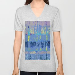 Abstract Forest Trees in Blue and Lilac Unisex V-Neck