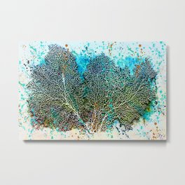 Ocean Sea Fan by Barbara Chichester Paintographer Metal Print