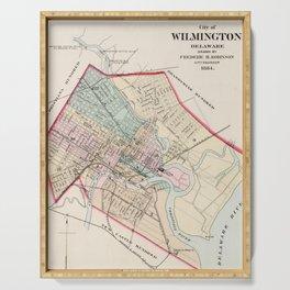 Vintage Map of Wilmington Delaware (1884) Serving Tray