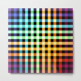 colorful abstract pattern on black - striped checkered rainbow color design Metal Print