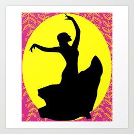 Flamenco Dancer Black Floral Art Print