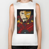 tony stark Biker Tanks featuring Iron Man 3 (Tony Stark) by  Steve Wade ( Swade)