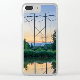 Power Pylons Over A River Clear iPhone Case