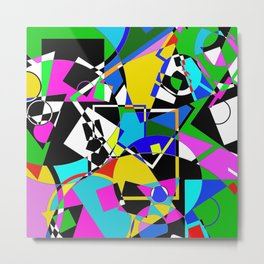 Colour Pieces - Geometric, eclectic, colourful, random pattern of shapes Metal Print