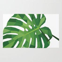Monstera leaf Geometric art  Green tropical plant Rug