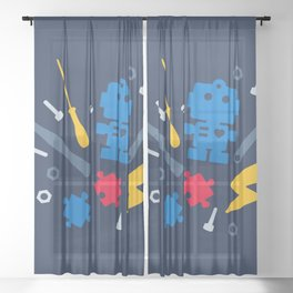 Young Engineer - Blue, Red and Yellow Sheer Curtain