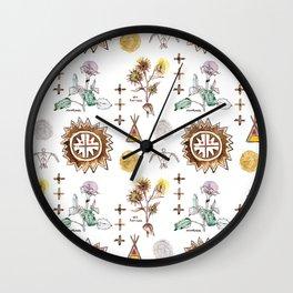 Grandmother Moon, Grandfather Sunflower Wall Clock