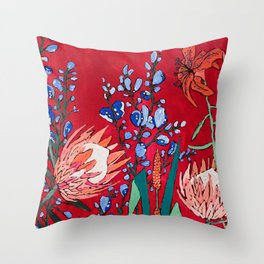 Red and Blue Floral with Peach Proteas Throw Pillow