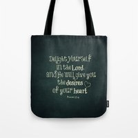 bible verse Tote Bags featuring Delight in the Lord Bible Verse with Chalkboard Background by Quote Life Shop