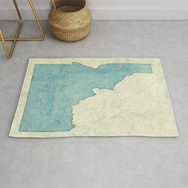 Idaho State Map Blue Vintage Rug