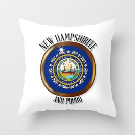 New Hampshire Proud Flag Button Throw Pillow